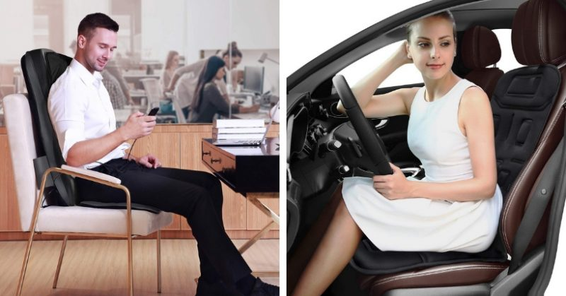 5 Motori Schiena Massaggio Sedile e Cuscino Auto Casa Ufficio Rilassante Scalda